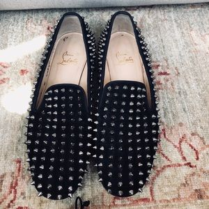 LOUBOUTIN ROLLING SILVER SPIKES BLACK SUEDE 39